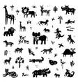 jungle animals - icon set doodle vector image