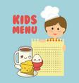 kids menu boy ingredients food vector image