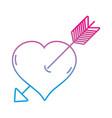 line arrow inside romantic heart design vector image vector image