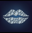 Lips shape made up a lot of diamond vector image vector image