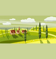 lovely countryside farm village grazing cows vector image vector image