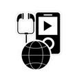 mp3 player and earth globe diagram icon vector image