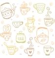 mugs kettles pattern vector image vector image