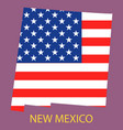 new mexico state of america with map flag print vector image vector image