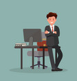 office worker man near the desktop vector image vector image
