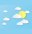 paper sky with cloud white clouds vector image
