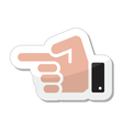 Pointing hand icon as label vector image