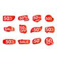 sale label set giving 50 percent off discount
