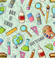 seamless cute doodle back to school pattern vector image vector image