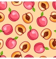 Seamless pattern with stylized fresh ripe peaches vector image vector image