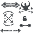 Set of Fitness and Bodybuilding Labels Design vector image