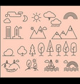 set of linear icons of city landscape elements vector image vector image
