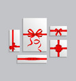 set white gift box red vector image