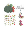 set with little red riding hood fairy tale little vector image vector image
