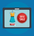 shopping online with tablet vector image vector image