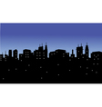 Silhouette of the city with twinkling lights vector image vector image