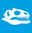 skull of dinosaur icon white vector image