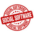 social software red grunge stamp vector image vector image