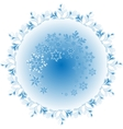 The pattern of blue and white snowflakes vector image