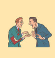 two businessmen talking and laughing friends joke vector image vector image