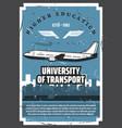 university air transport aviation school vector image vector image