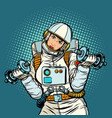 woman astronaut with dumbbells vector image vector image