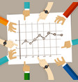 line chart with bullet marker hand drawing sketch vector image