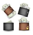 wallet set dollar banknotes realistic 3d vector image