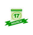 17 march calendar with ribbon vector image