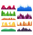 2d rock and mountain profile elements set in vector image vector image