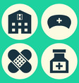 Antibiotic icons set collection of bandage cap vector image