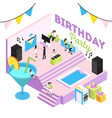 b-day party isometric composition vector image vector image
