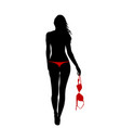 back view of young woman holding her red bra vector image vector image