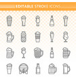 beer simple black line icons set vector image