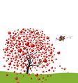 bird and heart tree design love vector image