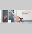 builders couple using hammer and ladder busy vector image