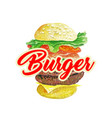 burger classic isolated hamburger or cheeseburger vector image