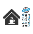 Cafe House Flat Icon with Bonus vector image vector image