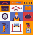 car service icons in colorful collage vector image