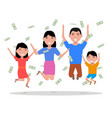 cartoon happy family falling on top money vector image vector image