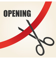 celebration of opening something with scissors and vector image