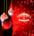 Christmas background with red balls vector image vector image