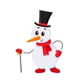 Cute and funny little snowman in cylinder hat vector image
