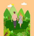dating couple walks in forest back view people vector image vector image
