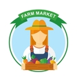 farm market color logo woman vector image vector image