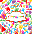 Festive card with carnival and party colorful vector image vector image