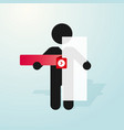 figure man holds sign and a red tab vector image