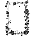 frame with roses and butterflies vector image vector image