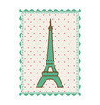 frame with silhouette of eiffel tower with vector image vector image