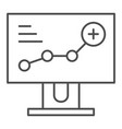 growth chart on monitor thin line icon diagram on vector image vector image